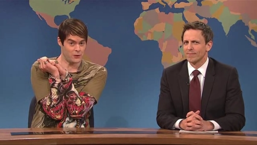 SNL's Bill Hader as Stefon wSeth Meyers Weekend Update