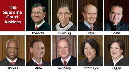 Justices of U.S. Supreme Court (as of June 28, 2013)
