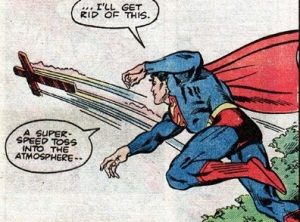 Superman tosses the cross