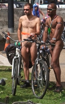 Nude bicyclists