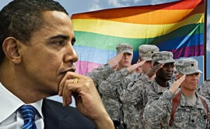 President Barack Obama, soldiers, LGBTQ flag