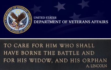 Veterans Affairs logo banner, Abe Lincoln quote
