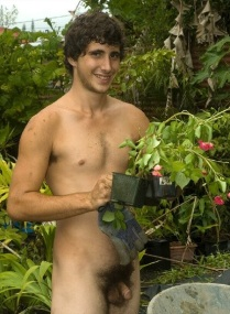 Naked guy gardening