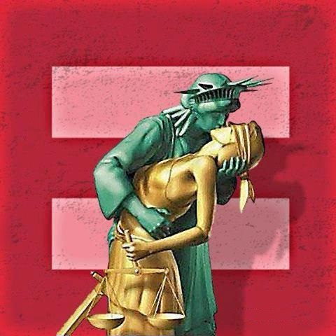 Equality support - Liberty & Justice kiss (re)