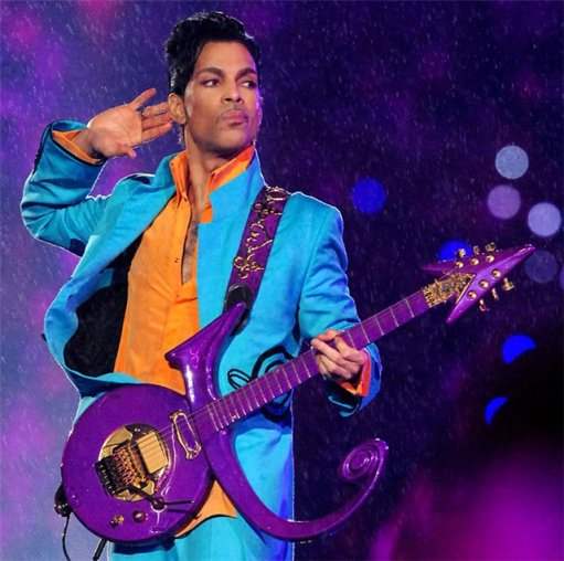 Prince with love symbol guitar